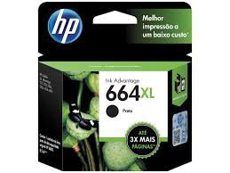 Cartucho Original HP Ink Advantage 664XL Preto - F6V31AB 8.5 ml
